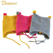 Cute Knit Newborn Baby Cap with Ears Cartoon Baby Bonnet Enfant Hat for 0-8 Months Boys Girls 1 PC(China)