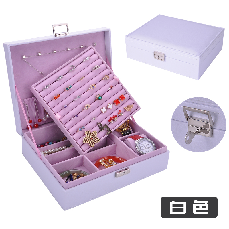 Fashion box for jewelry large space with a metal lock to guard against theft elegant noble