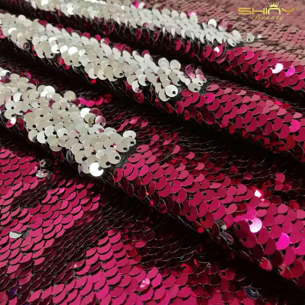 ShinyBeauty 2x9FT chaude Fuchsia et argent Sequin Curtian Fuchsia sirène réversible rideau toile de fond-ar