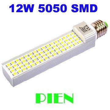 New 2014 12W led lamp bombillas E27 G24 home bulb lamps 60 led high power warm cold white Free Shipping 2pcs