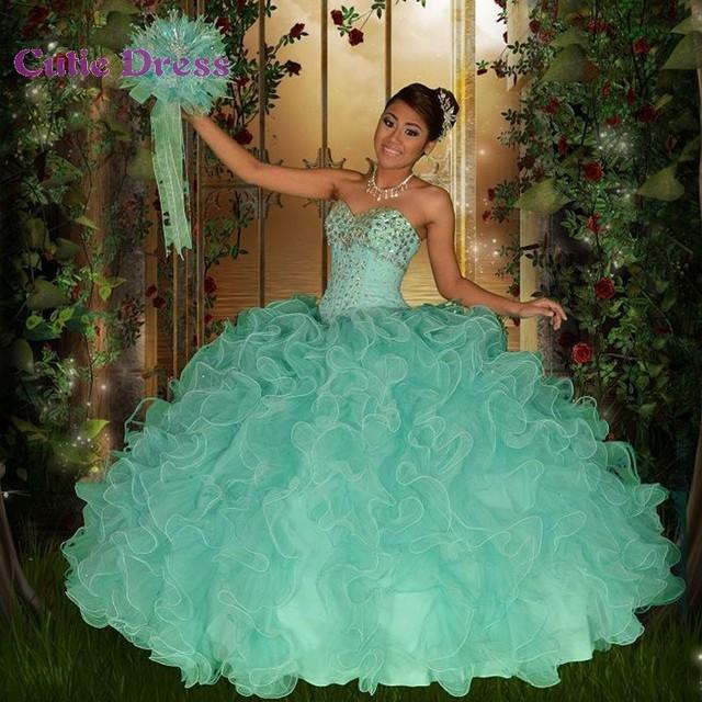 9e2011196 Dulce 16 vestidos verde menta Quinceanera vestidos amor moldeado de las  colmenas de Tulle baratos vestidos