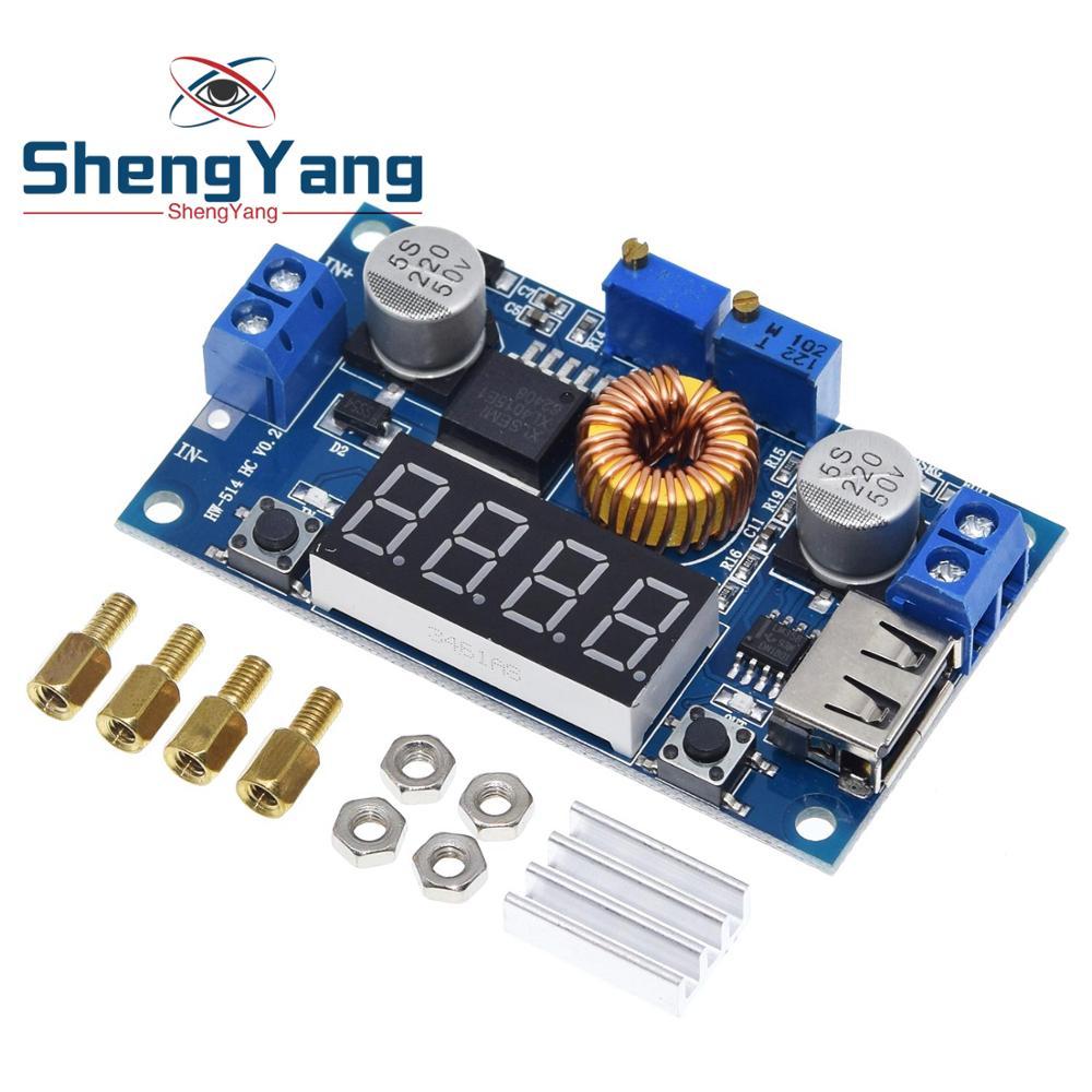 ShengYang цифровой светодиодный модуль зарядного устройства для литиевых аккумуляторов, 5 А, CC/CV, USB, понижающий преобразователь с вольтметром и ...