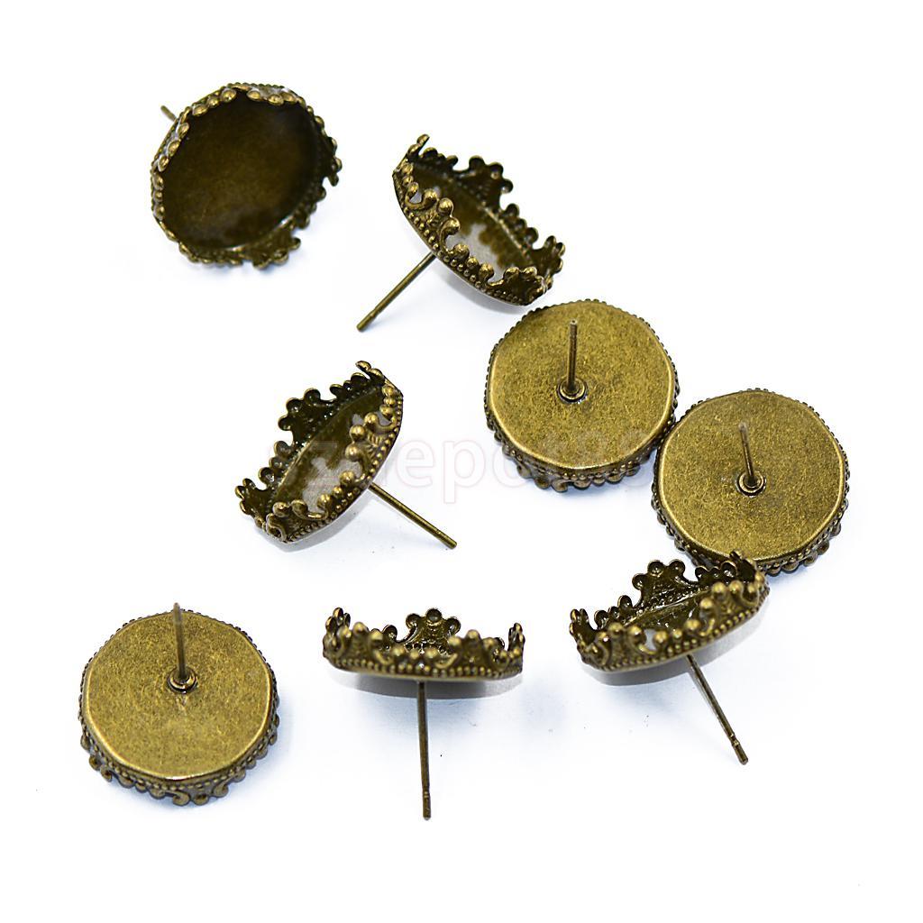 10pcs Bronze Tone Flat Base Earring Make DIY Posts Studs Jewellery Findings New