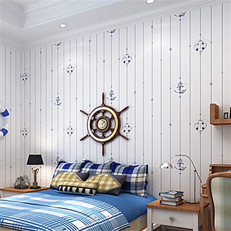 Mediterranean style non-woven wallpaper childrens room cartoon professional construction high-end home decoration