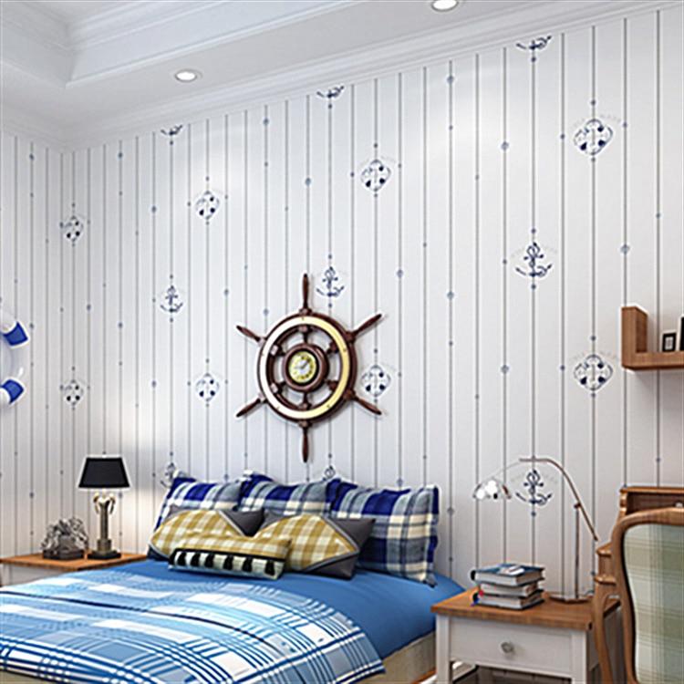 Mediterranean Style Non-woven Wallpaper Children's Room Cartoon Professional Construction High-end Home Decoration Wallpaper