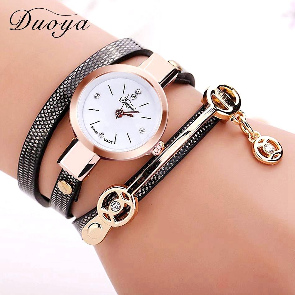 Новый Duoya Женской Моды Браслет Часы Золото Кварцевые Подарок Часы Наручные Часы Женщины Платье Повседневная Часы Браслет