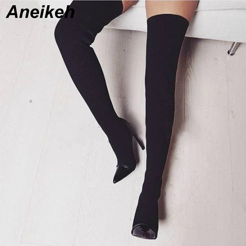 Aneikeh Autumn Long Boots Elastic Stretch Fabric Over the Knee Boots Sexy Pointed Toe High Heel Boots for Woman zapatos mujer black stretch fabric suede over the knee open toe knit boots cut out heel thigh high boots in beige knit elastic sock long boots