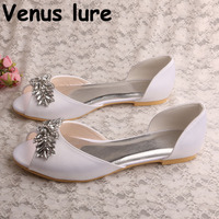 Crystal Womens Flat New Peep Toe White Satin Flat Wedding Shoes for Bride