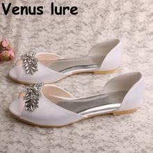 Crystal Womens Flat New Peep Toe White Satin Flat Wedding Shoes for Bride