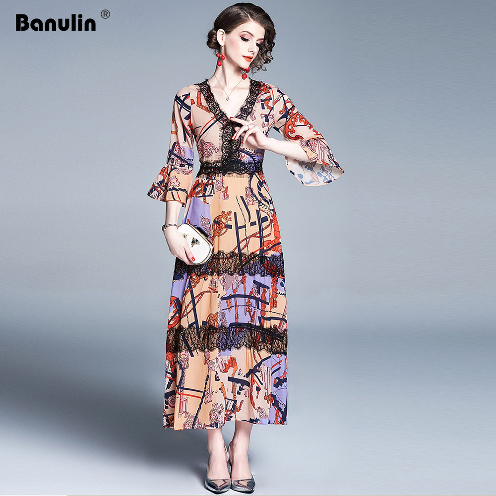 2019 Summer Fashion Runway Dress Women 39 s Flare Sleeve V Neck Floral Print Lace Patchwork Casual Vacation Long Maxi Dress in Dresses from Women 39 s Clothing