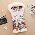 2016 Fashion Down Cotton Printing Vest Women Slim Sleeveless Hooded Collar Vest Jacket Coat 5 Color Casual Outerwear Plus size