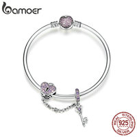 BAMOER Genuine 925 Sterling Silver Love Key Heart Shape Bracelets Bangles for Women Purple Zircon Valentine Gift Jewelry SCB820