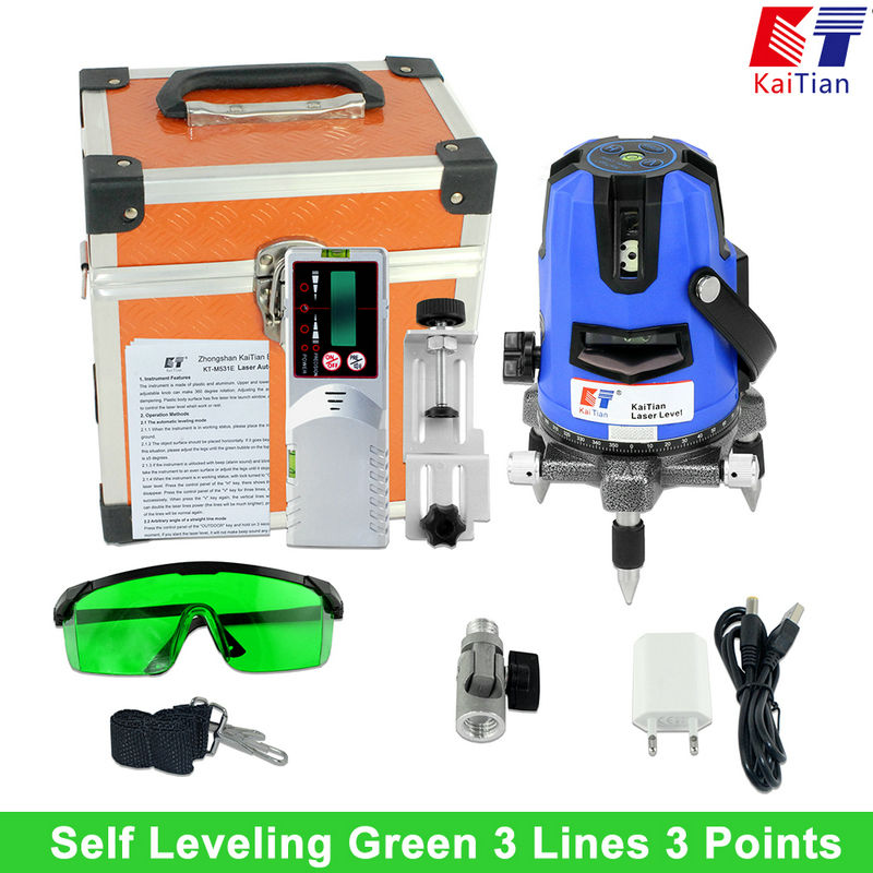 KaiTian Green Laser Level Outdoor with Tilt Slash Function/360 Rotary 3 Lines EU Lazer Level Self Leveling Cross Level Lasers