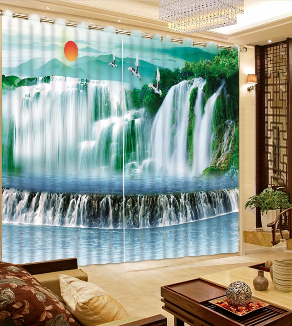 New Custom 3D Beautiful 3D Curtain Sunrise Waterfall Curtain Green Woods Curtains Blackout Shade Window Curtains Small