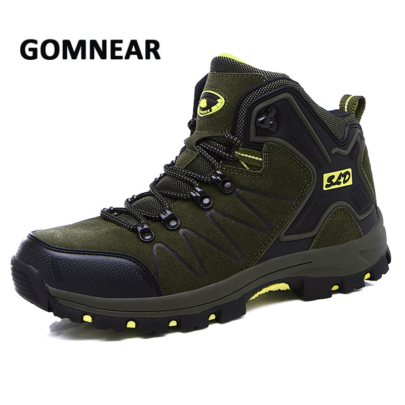 GOMNEAR Hiking Shoes Men Spring Outdoor Ankle Boots Leather Shoes Men Mountain Camping Sneakers Hunting Trekking Sports Shoes big size 46 men s winter sneakers plush ankle boots outdoor high top cotton boots hiking shoes men non slip work mountain shoes