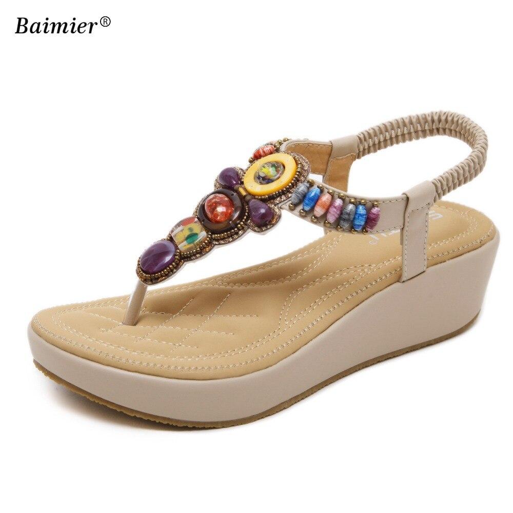 2018 Fashion Women Sandals Summer Gladiator Shoes Ladies Beading Bohemia Shoes Woman Comfort Beach Shoes Flat Sandals Plus Size women wedges sandals plus size 36 42 woman summer shoes 2018 new fashion casual shoes for woman european gladiator sandals