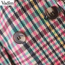 Vadim women chic plaid blazer pockets double breasted long sleeve office wear coat female casual retro outerwear tops CA504