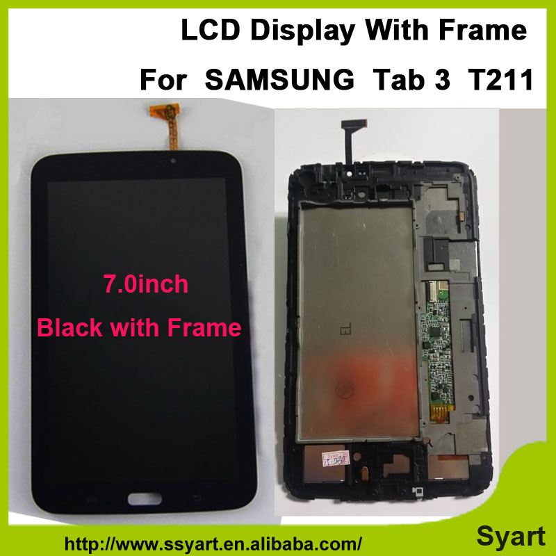 1pcs Black with Frame 7.0inch T211 Full lcd LCD Display Touch Screen Panel Digitizer glass Assembly For SAMSUNG Tab 3  T211 бп atx 350 вт exegate ex219182rus