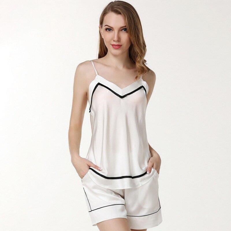 100% шелк 19momme Шорты пижамы наборы Женщины С НАБОРНЫМИ БРЕТЕЛЬКАМИ пижамы глубоким v образным вырезом пикантные атласные элегантные женские р