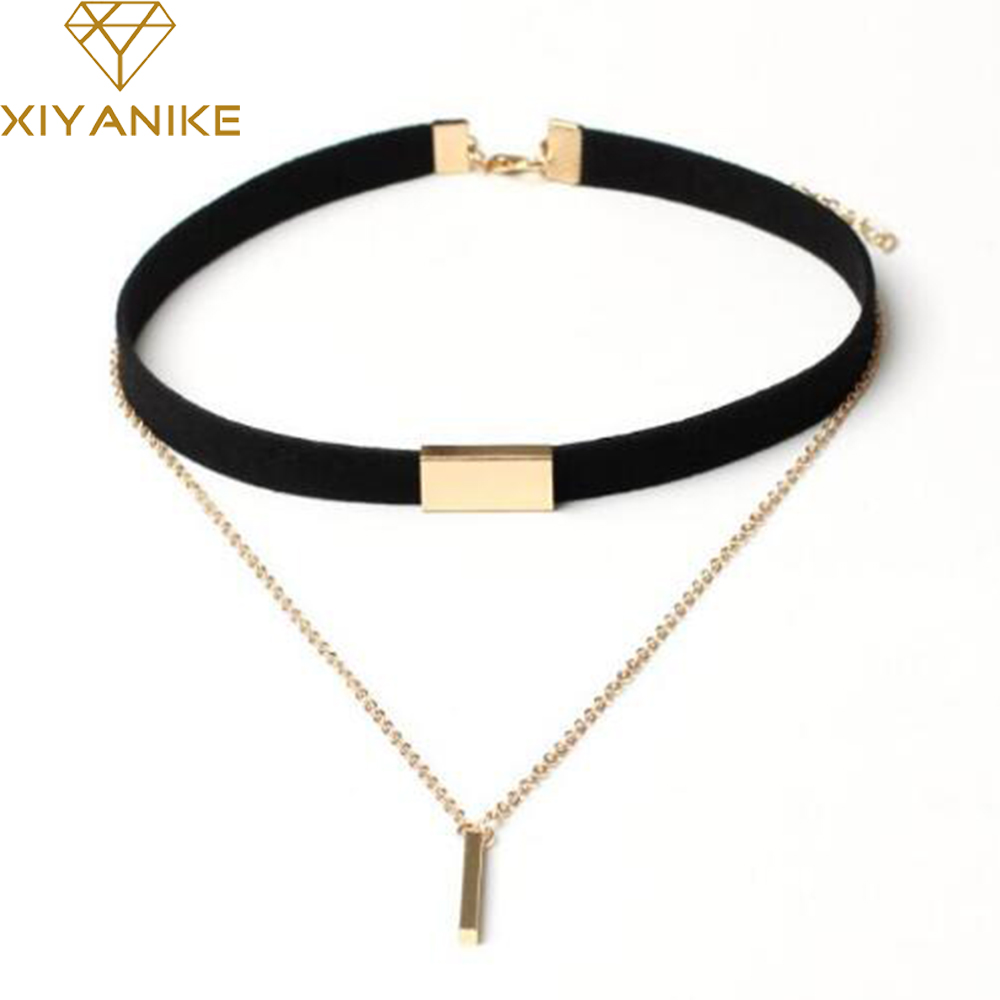 XIYANIKE New Black Velvet Choker Necklace Gold Chain Bar Chokers Necklace For Women collares mujer collier ras du cou N664