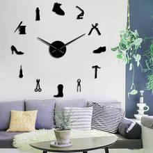 Sklep z butami szewc narzędzie zawód DIY zegar ścienny w stylu Vintage szewc narzędzie buty młotek samoprzylepne akrylowa naklejka na lustro zegar tanie tanio The Geeky Days Z tworzywa sztucznego Salon Streszczenie Igła Antique style Zegary ścienne Pojedyncze twarzy Oddziela Geometryczne