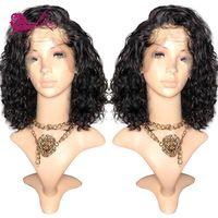 EAYON волос Glueless Синтетические волосы на кружеве человеческих волос Боб парики глубоко вьющиеся для черных Для женщин с волосами младенца 130%
