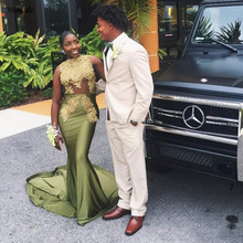 Green Mermaid Prom Dresses O-Neck Appliques Sequined Beaded Gowns Satin Sweep Train Africa Evening Party Dress