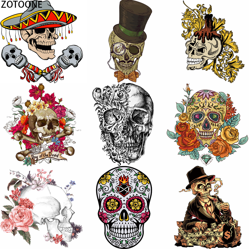 ZOTOONE Skull Punk Iron On Transfer Patches Appliques For Clothing T-shirt Fusible Patch Thermo Stickers Applications On Clothes