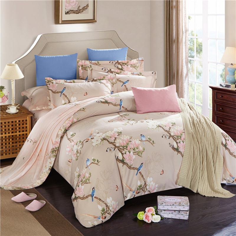 100%Cotton soft bedclothes Floral leaf print oriental ...