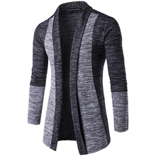 New Winter Wool Coat Men Mens Card Stitching Contrast Color Sweater Long-sleeved Wild Cardigan Long V-neck