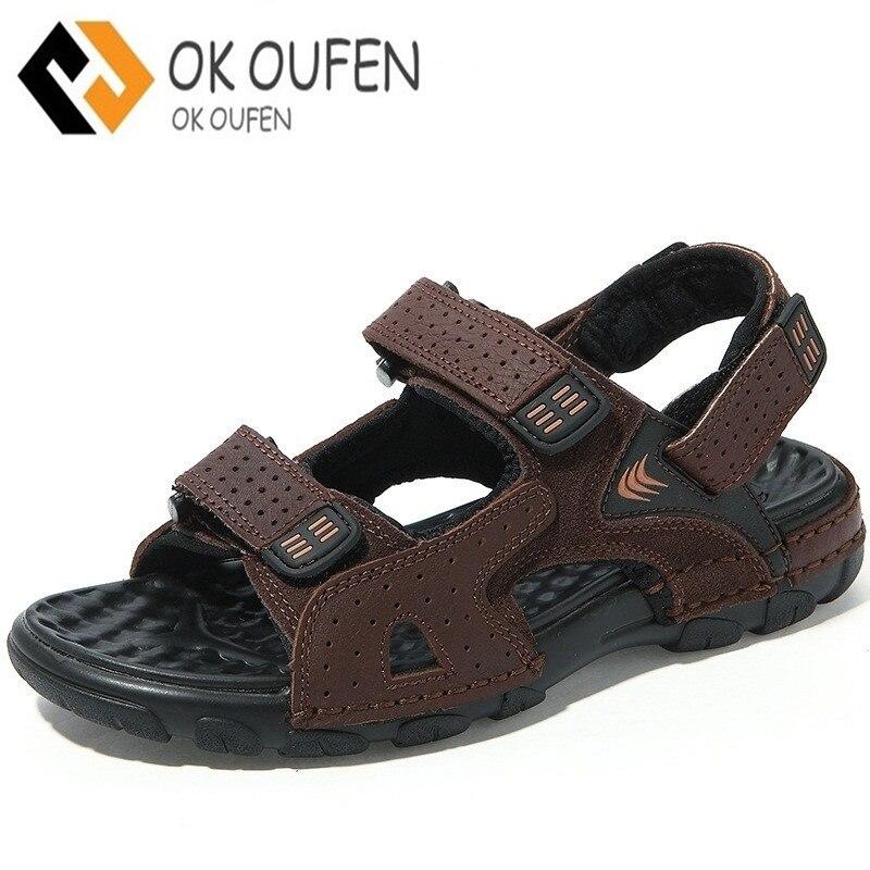 Z.suo Genuine Leather Summer Mens Sandals Hoop&Loop Massage Beach Mens Sandals Outdoor Men Sandles Man Footwear Black Brown