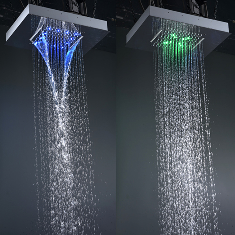 Recessed Rain Shower Head. Modern Shower Faucets Set Ceiling Recessed LED Rain Waterfall  Massage Panel Body Jets Bathroom Bath in Heads from Home