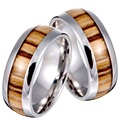 New Arrival Never Fade Vintage Titanium stainless steel ring wood grain ring for men