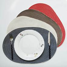 Round Placemat Table Mat Coaster Non Slip Cotton Yarn Woven Table Insulation Pad Solid Placemat Mat Kitchen Tools Accessories 2019 pu leather placemat oil water resistant heat insulation non slip table mat dish bowl holder pad coaster for kitchen table