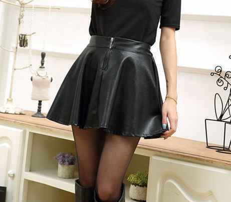 Bohocotol 2018 nueva Falda corta de moda de mujer con cremallera plisada  pequeña falda de Cuero 5728bd634b22