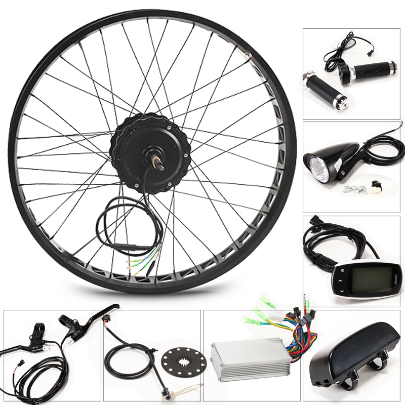 LOVAGE Electric bicycle 48V 500W kit for 26x4 0 inch wheel motor kettle battery LED LCD