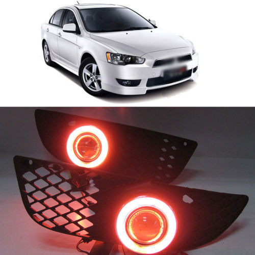 Ownsun Innovative Super COB Fog External Light Source Angel Eye Bumper Cover for Mitsubishi Lancer EX ownsun innovative chrome super cob fog light angel eye bumper cover for mitsubishi asx