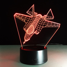 Air Plane Series 3D Night Light Supply Visual Aircraft Battleship 3D Light Desk Lamp JET Home Decor LED USB Baby Bedside Lamp