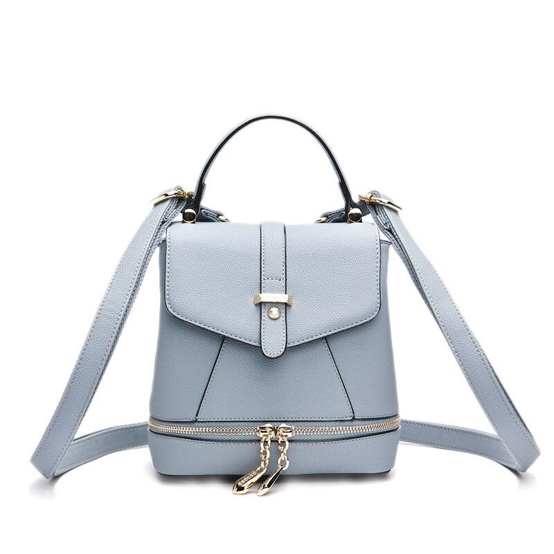 ФОТО Doodoo Women's Hasp Zip Leather Backpack Casual Daypack Travel Rucksack Versatile Tote Bag