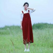 Женское весеннее винтажное вельветовое длинное платье Mori girl, милые лямки, бархатное платье, женское ТРАПЕЦИЕВИДНОЕ платье без рукавов, A72302