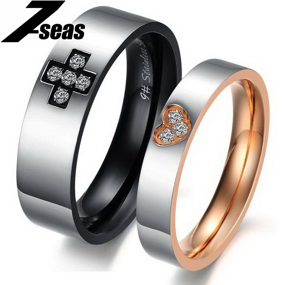 Цельнокроеное платье цена Сердце и крест его и ее обещание кольцо Нержавеющаясталь пара свадебные Обручение кольцо для Для женщин Для муж...