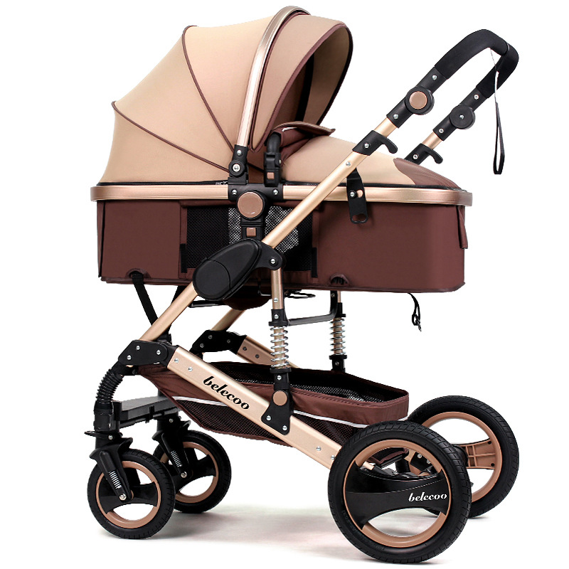 Free Ship! Brand 2 in 1 high view baby stroller baby trolley safety seat can be seated, can lie in shock baby trolley car seat musical 2 in 1 lion baby walker and can use as seat