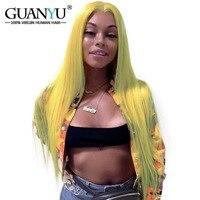 Guanyuhair блондинка бразильский Remy натуральные волосы полный кружево Искусственные парики плотность 150% предварительно сорвал прямые волосы к