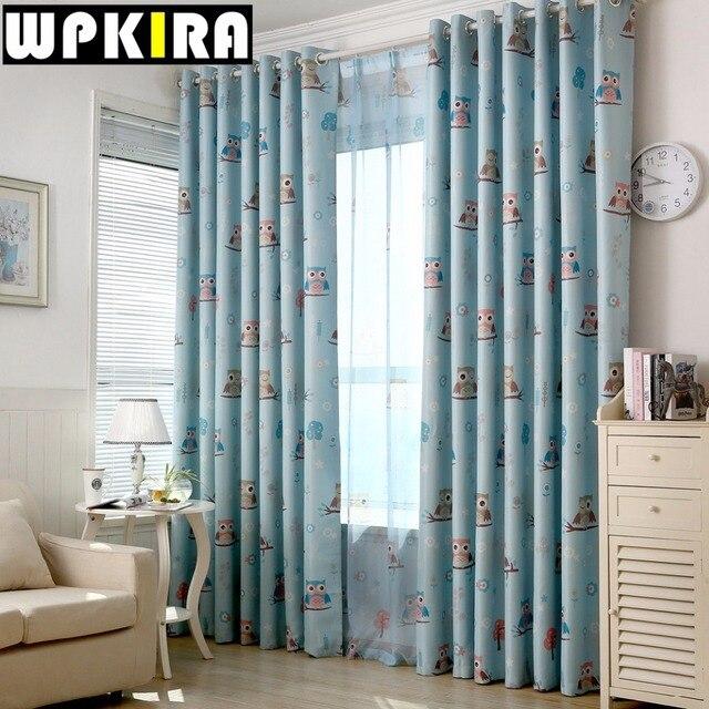 Cartoon Owl Blackout Curtain Fabric Shade Blinds Window Blue Yellow  Children Curtains Kids Bedroom Window Drapes