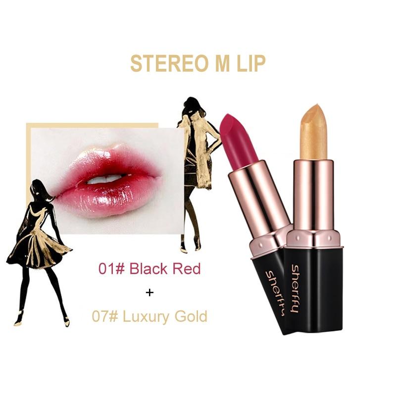 Kit Rouge à lèvres Sherffy 2 pièces/ensemble beauté Nude Rouge à lèvres or Rouge à lèvres métallisé Lot de maquillage mat rubis Rose velours Rouge Blush