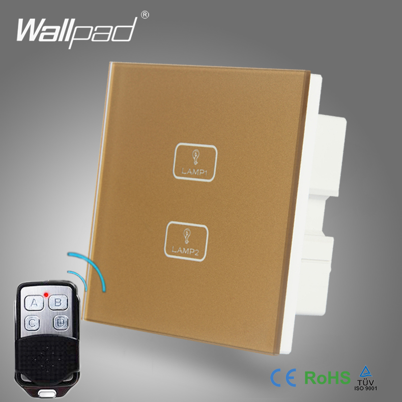 2018 New Product 2 Gang Remote Wallpad Gold Glass Switch 110-250V LED Remote 2 Gang 2 Way Touch Controlled Wall Light Switc