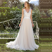 LORIE Vintage Wedding dress 2019 V Neck Lace Appliques A Line Princess Boho Wedding Gown Cuatom Made Bridal Gown Free Shipping