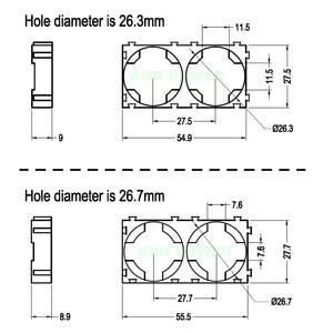 Image 2 - 26650 suporte da bateria do li íon (2 p suporte) para o lítio cilíndrico de 26650 e o diâmetro do furo da bateria lifepo4 é 26.3mm ou 26.7mm