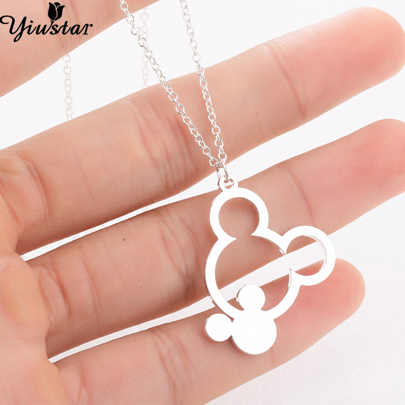 Yiustar Girls Necklaces Stainless Steel Mickey Necklace Women Mouse Cartoon Necklaces Pendants Kids Accessories Girls Necklaces necklace