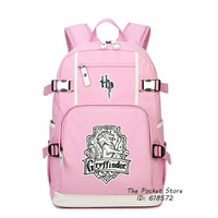 Top Quality Magical Harry Potter Gryffindor Hufflepuff Ravenclaw Slytherin Printing Backpack Canvas School Bags Laptop Backpack
